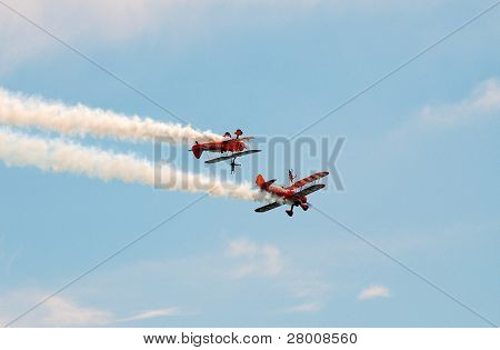 EASTBOURNE, ENGLAND - AUGUST 14: The Breitling wing walking aerobatic display team perform at the