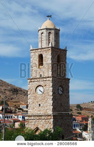 The stone clock tower at Emborio on the Greek island of Halki.