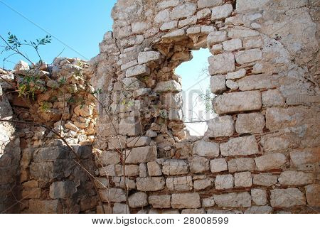 Part of the medieval Knights of Saint John crusader castle near Horio on the Greek island of Halki.