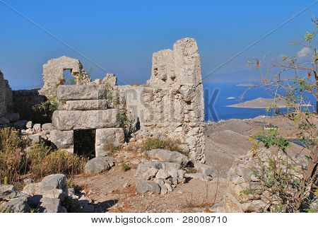 The ruins of the medieval Crusader Knights castle above Horio on the Greek island of Halki.