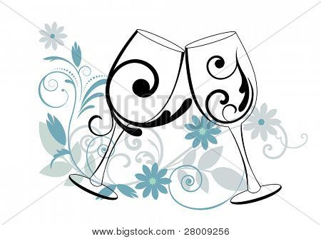 Wine glasses with flourish