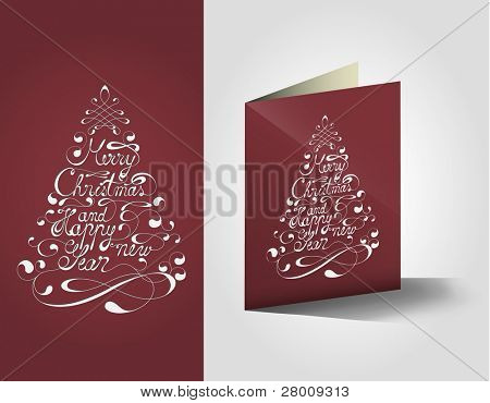 Elegant Merry Christmas And Happy New Year Calligraphic Postcard