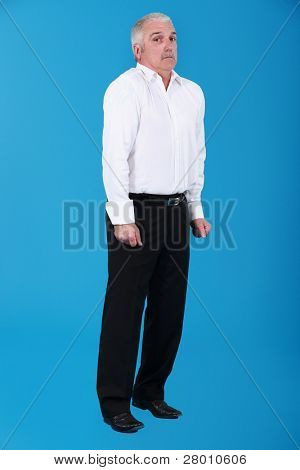 mature frightened against blue background
