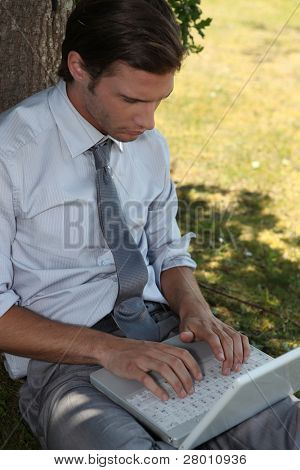 Businessman using a laptop under a tree
