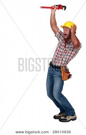 Plumber gesturing on white background