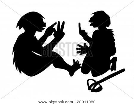 two neanderthal mans on white background, vector illustration