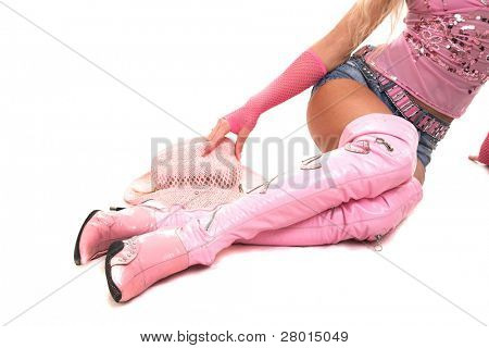 beauty blonde woman in pink dress and jeans shorts