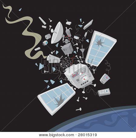 Wrecked satellite