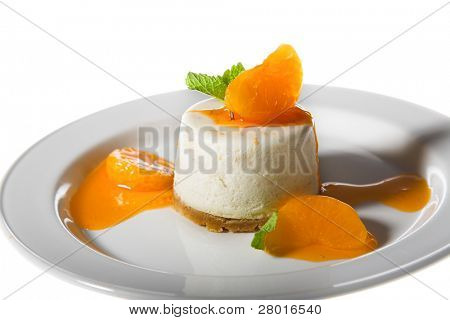 nice cheesecake on the plate isolated on white