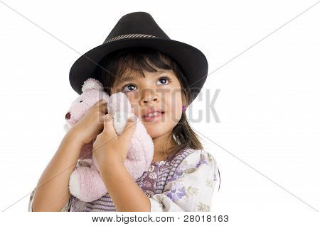 Cut Girl Hugging Teddy Bear
