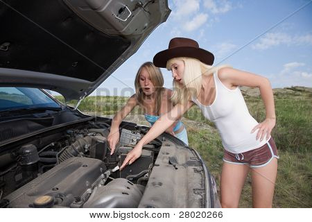 young beauty girls try to repair big car