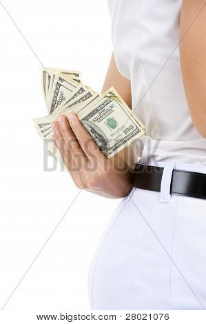 Woman Hiding Money
