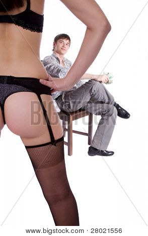 sexual beauty girl and man on background