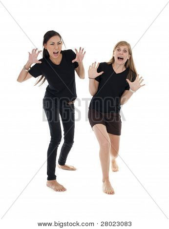 Asian And Caucasin Woman With Funny Pose