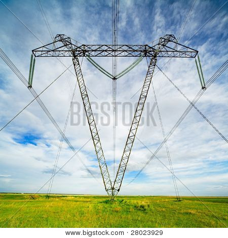 wide angle photo of power line pylon