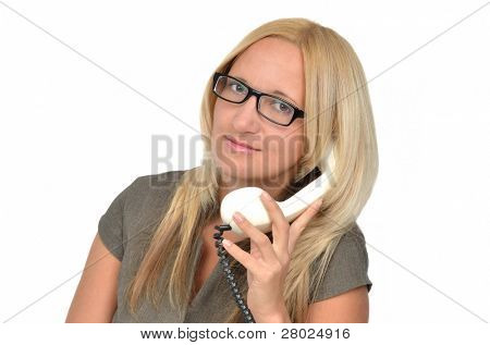 Beautiful business woman with vintage phone