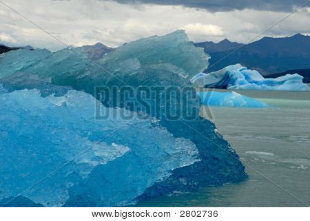 Many Icebergs In Lake Argentino Near Upsala Glacier.