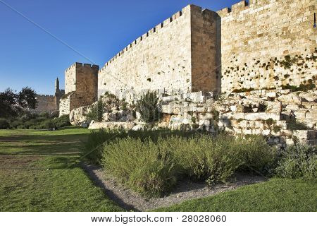 The ancient walls surrounding Old city in Jerusalem
