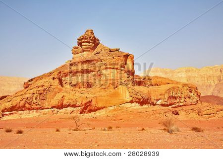 "Naturally arisen monument from sandstone ""Screw"" in park Timna in Israel"