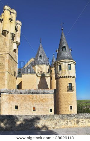 Ancient picturesque palace of the Spanish kings in Segovia
