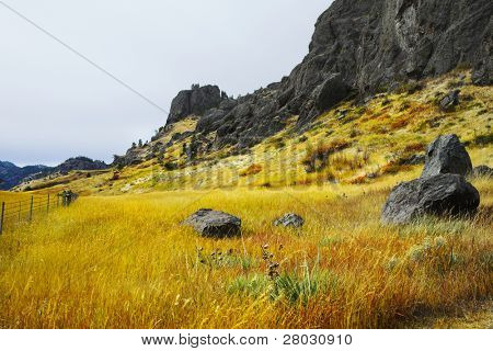 Footpath on flat and low hills in a valley of the river Missouri in the USA