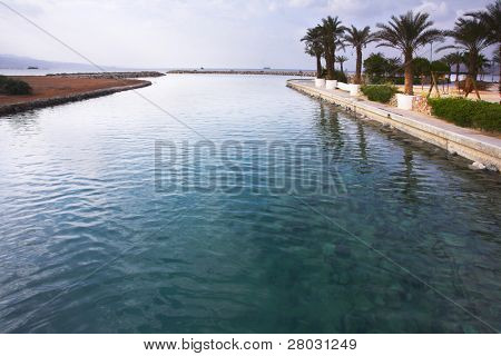 The channel with transparent greenish water, and palm trees on coast