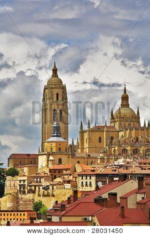 Cathedral in Segovia on a background of the cloudy sky