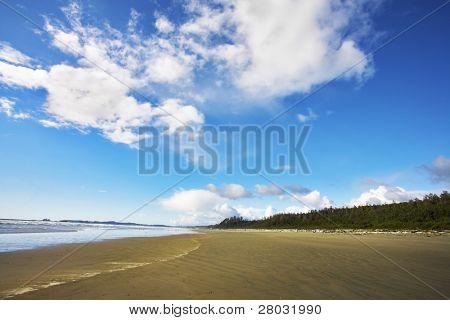 riesigen Sandstrand Ozean Strand auf Vancouver island am ein Mittag