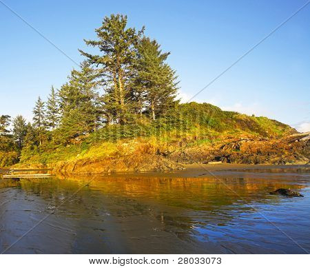Small picturesque island at Pacific coast of Canada during inflow