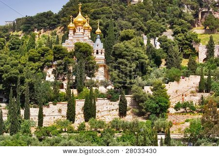 An orthodox temple above valley Kidron in Jerusalem