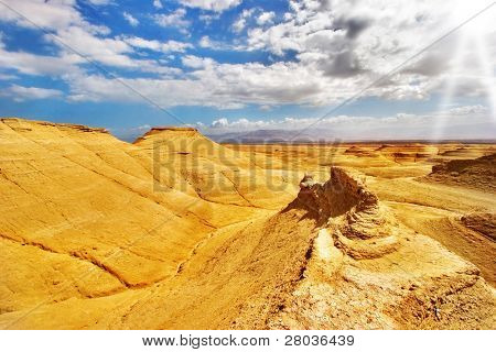 Yellow desert. Picturesque ancient mountains about the Dead Sea in Israel