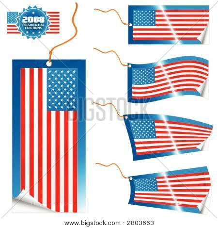 American Flag Modern Tags And Stickers