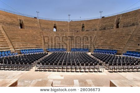 An amphitheater of the period of the Roman invasion in national park Caesarea on Mediterranean sea