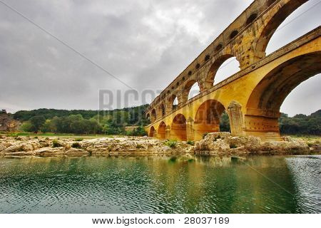 The well-known antique bridge-aqueduct Pont du Gard in Provence