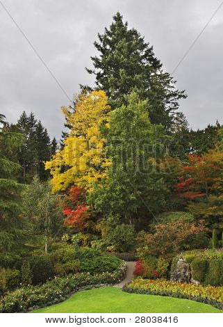 Picturesque glade in well-known Butchard-garden on island Vancouver in Canada