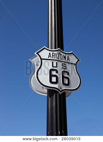 The traffic sign on  American highway strengthened on a metal column, Historic route 66