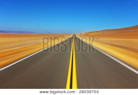 Travel on the American highway on high speed