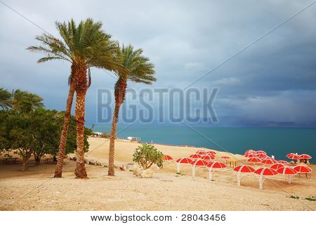 Winter on the Dead Sea. Red umbrellas, green sea and purple thunderheads
