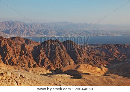 Abrupt and dangerous road to mountains of Eilat. Coast of Red sea