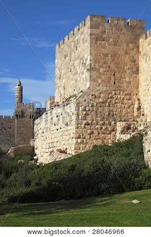 Grandiose walls of Jerusalem and the Tower of David