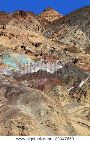 Multi-colored rocks in Death Valley, USA. The famous road