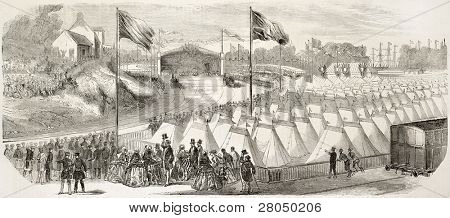 Locomotive blessing ceremony in Cherburg: guests encampment. Created by Rouargue after Richebourg, published on L'Illustration, Journal Universel, Paris, 1858
