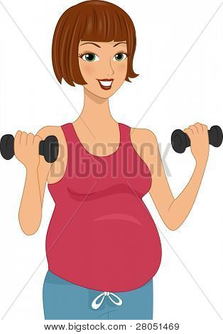 Illustration of a Pregnant Woman Working Out