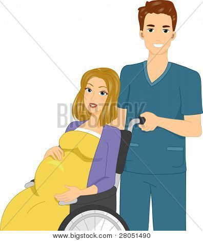 Illustration of a Woman Being Pushed in a Wheelchair by a Nurse