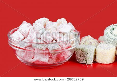 the turkish delight on a red background