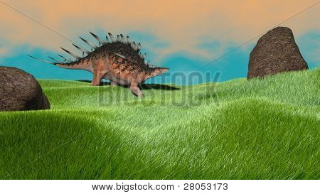 kentrosaurus in grassland