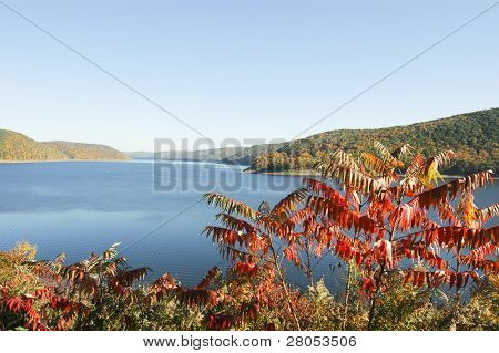 overlook of reservoir lake in the Allegheny National Forest in fall