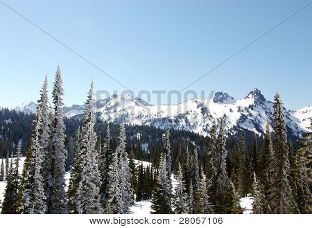 snowy mountain range