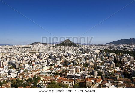 The City Of Athens Is Seen Here With Lycabettus Hill