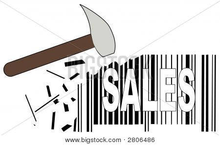 Hammer With Barcode And Sales